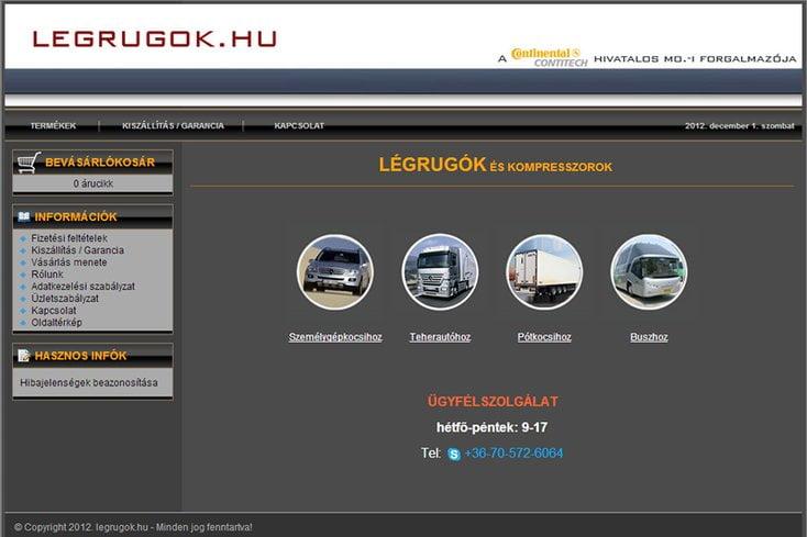 Légrugók webáruház