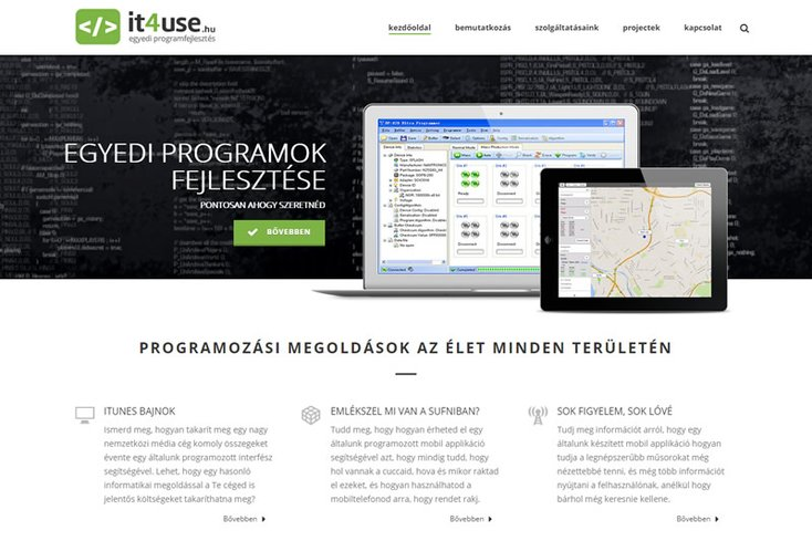 IT4Use – egyedi szoftverfejlesztő csapat honlapja